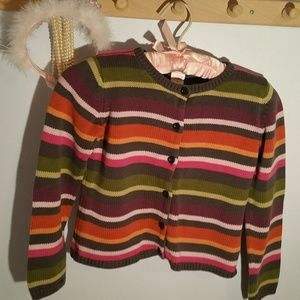 Gymboree Size 7 Gray Pink Striped Cotton Sweater